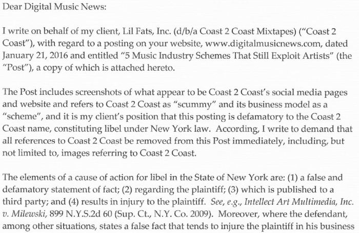 Digital Music News Lawyer Letter